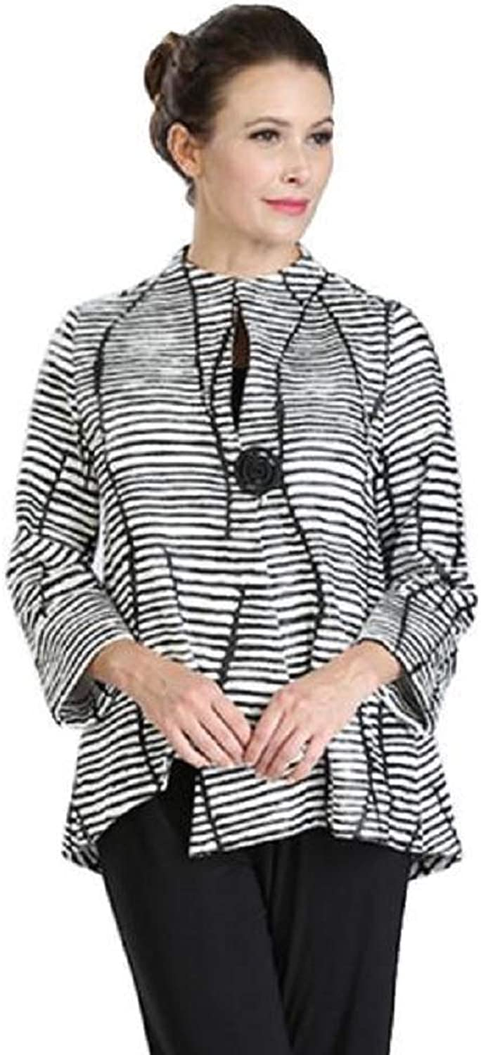 IC Collection Textured Striped Asymmetric Jacket in Black White