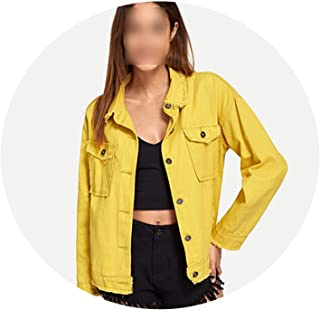 JunXian coats Chamarra de Tela Vaquera Amarilla para Mujer, Estilo Casual, Primavera, Lisa, para Exteriores