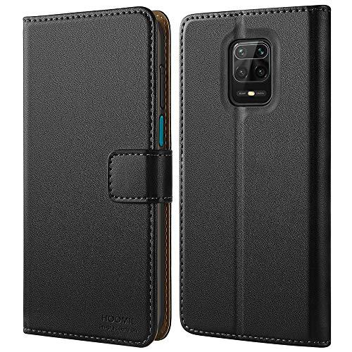 HOOMIL Handyhülle für Xiaomi Redmi Note 9S Hülle, Xiaomi Redmi Note 9 Pro Hülle Leder Tasche Flip Hülle Schutzhülle Schwarz