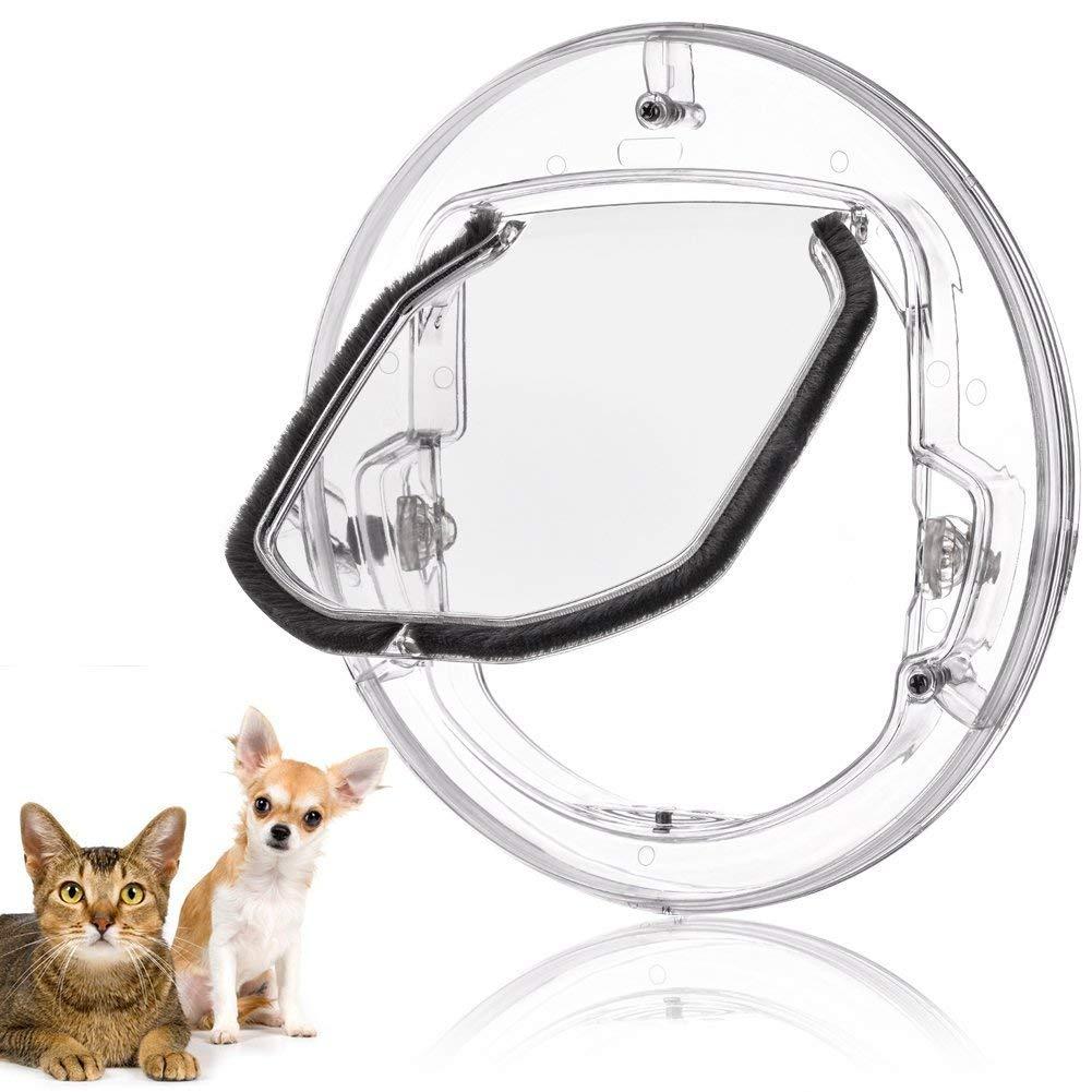 Fdit gato Tapa Tapa pequeñas mascotas perros gatos para puerta con 4 posibilidades Cerrar redondas transparente o blanco gato Tapa con puerta Liner Kit Best: Amazon.es: Hogar