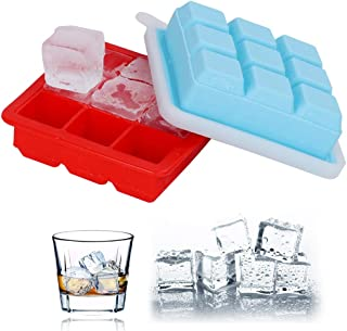 Ostrichy Ice Cube Trays, Large Ice Tray, Silicone Ice Cube Tray, Ice Tray with Lid, Silicone Flexible 9 Shaped Rubber Ice Cube Trays - Set of 2 Ice Molds for Whiskey, Cocktails, Baby Food and Treats