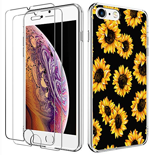 LYWHL iPhone 7 Case Silicone, iPhone 8 Case with [2 Pack] Tempered Glass Screen Protector, Slim Flexible Case for Girls Full-Body Protective Cute Flower Case for iPhone 8, iPhone 7 (Sunflower/Black)