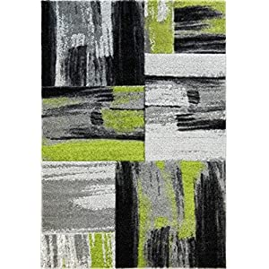 Ladole Rugs Moda Collection Soft Elegant Copper Abstract Made in Europe Area Rug Carpet in Green Black Grey, 8×10 (7'6″ x 10'2″, 240cm x 320cm)