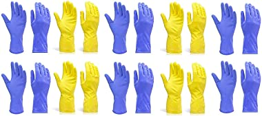 DeoDap Rubber Hand Gloves Reusable Washing Cleaning Kitchen Garden (Multicolor) (Large), (10 Pairs)