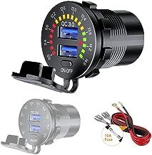 Thlevel Auto QC3.0 USB Ladegerät KFZ Dual 9V~32V 36W Schnellladung Metal mit LED Stromspannung Anzeige ON - Off Switch für Fahrzeuge KFZ Boot Motorrad SUV Bus LKW Wohnwagen Marine
