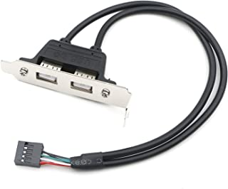 JIUWU 2 Port USB 2.0 Rear Panel Extension Internal Bracket Connector Cable Adapter PC Motherboard