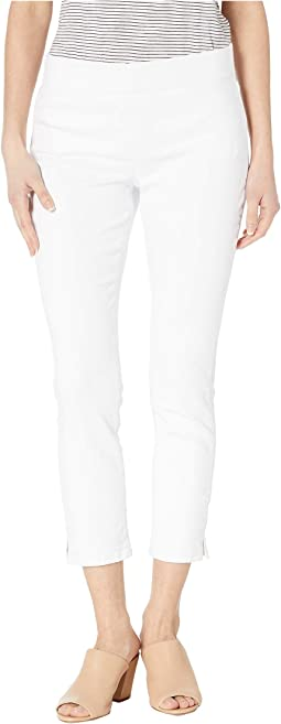 Petite Pull-On Skinny Ankle Slits in Optic White
