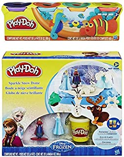 Play-Doh Disney Frozen Sparkle Snow Dome Set with Elsa and Anna + Play-Doh 4-Pack of Colors 20oz - Bundle