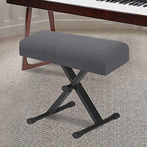 Stretch Piano Stool Cover Keyboard Bench Covers Non Slip with Thick Elastic Bottom Feature Checked Jacquard Pattern Form Fitted The Length 20'-26' (Medium Size - Grey)