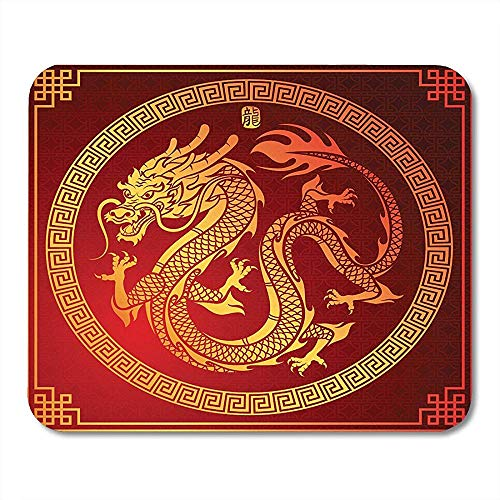 Mousepad Asiate Des Traditionellen Chinesischen Drachen Im Kreis Charakter Translate Pattern Golden Mouse Pad 25X30Cm