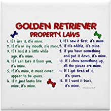 CafePress - Golden Retriever Property Laws 2 Tile Coaster - Tile Coaster, Drink Coaster, Small Trivet