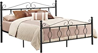 GreenForest Queen Bed Frame with Headboard Metal Platform Bed with Wooden Slats No Box Spring Needed Mattress Non-Slip Design Bed Heavy Duty, Black