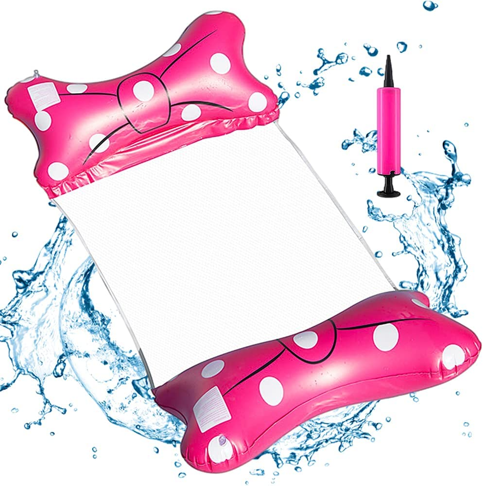 CYSJ Hamaca de Agua Inflable Tumbona Inflable para Piscina Silla Inflable de Flotación 4 en 1 para Adultos Hamacas Inflables Cama Inflable Fila Plegable para Piscinas Agua Hamaca for Adultos(Rosado)