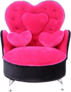 CUTICATE 1:6 Miniature Furniture Heart Shape Sofa (Openable) for Dollhouse Decoration, Also can be Girls Women Jewelry Box Home Decor, Rose Red