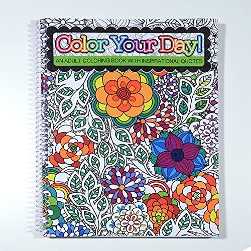 """Datas escolares colorem o seu dia! - um livro de colorir adulto com citações inspiradoras - espiral encadernado - 21,6 cm x 27,9 cm, Coloring Book, Large (8.5"""" by 11"""")"""