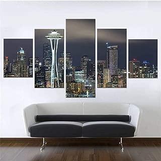 Seattle Wall Art, Cityscape Wall Decor for Office, Modern 5 Piece Canvas Print, City Lights Multi Panel Set, City View Poster, Skyline Mural 40x60cm 40x80cm 40x100cm x 5pcs No-Frame