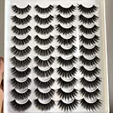 PLEELL False Eyelashes Faux Mink Lashes Pack Fluffy Wispy Long Dramatic Handmade Soft Natural Look 20 Pairs