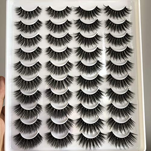 PLEELL 20 Pairs False Eyelashes 4 Styles Mixed Faux Mink Lashes Pack Fluffy Wispy Long Dramatic Handmade Soft Natural Look
