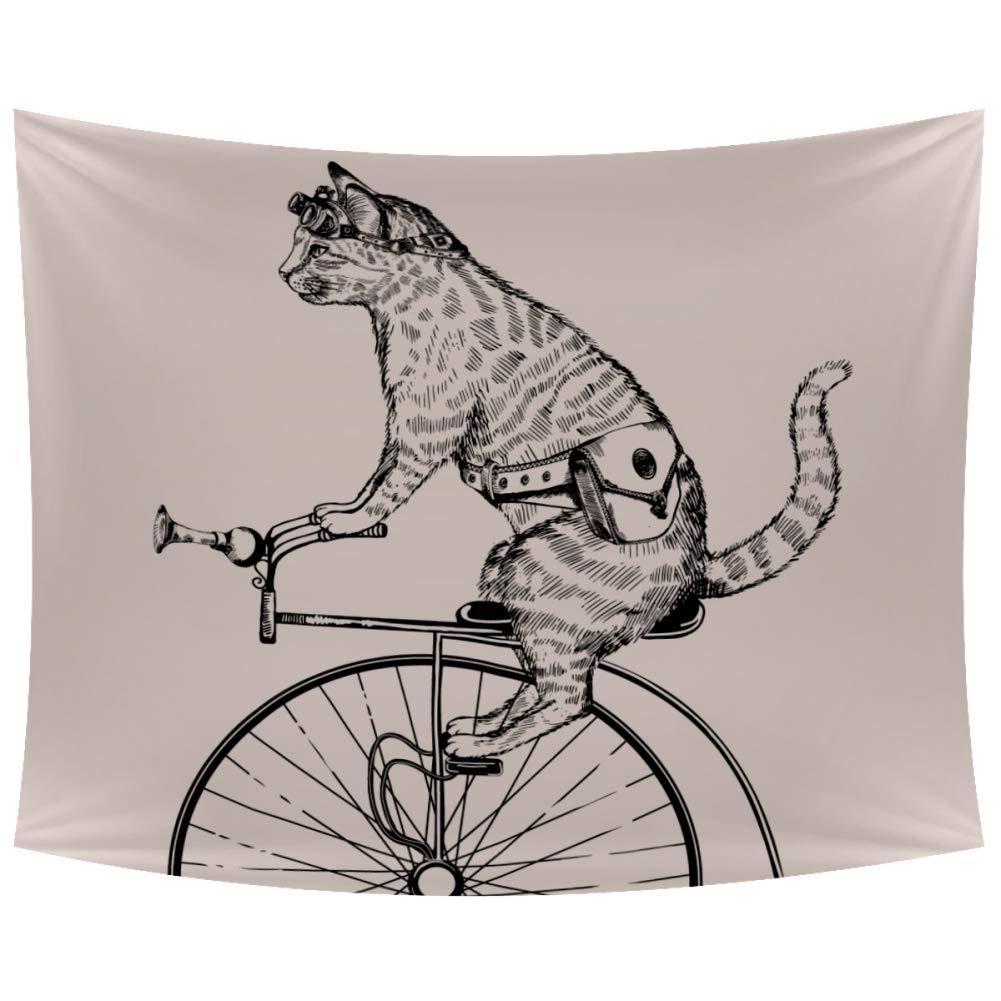 Tapices para colgar en la pared, diseño de gato punk montando en bicicleta, decoración del hogar, para sala de estar o recámara, 228 x 152 cm, poliéster, multicolor, 90x60 in: Amazon.es: Hogar