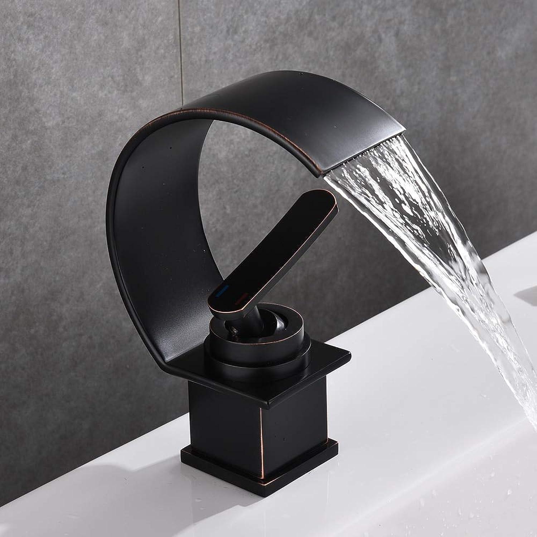 ZHAOSHOP Becken Wasserhahn Wasserfall schwarz mit gebürstetem Waschbecken Wasserhahn heien und kalten Wasserhahn Einhand-Badarmatur