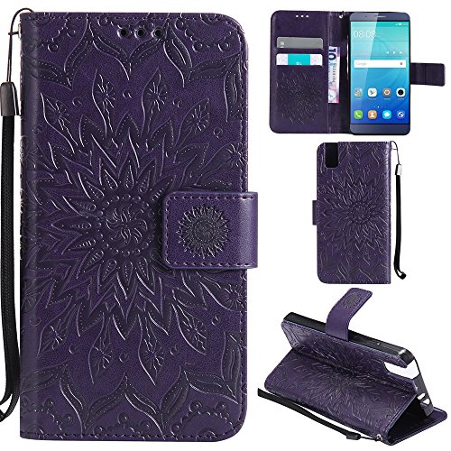 Ooboom® Huawei ShotX Hülle Sonnenblume Muster Flip PU Leder Schutzhülle Handy Tasche Hülle Cover Stand mit Kartenfach für Huawei ShotX - Lila