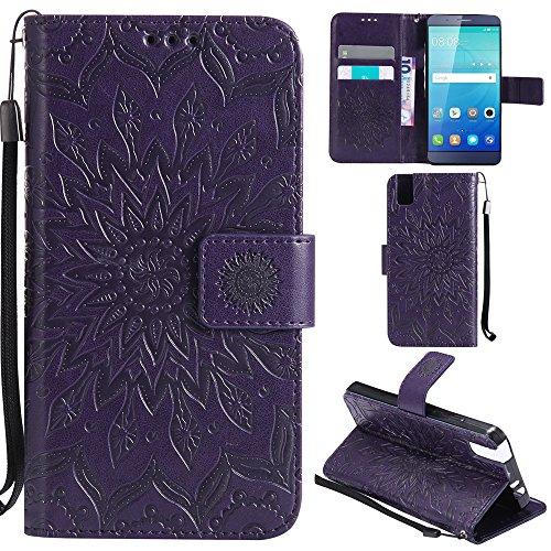 Ooboom® Huawei ShotX Hülle Sonnenblume Muster Flip PU Leder Schutzhülle Handy Tasche Case Cover Stand mit Kartenfach für Huawei ShotX - Lila