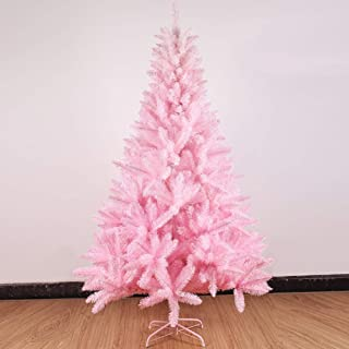 JRMU 5 6 7 8ft Pink Artificial Xmas Tree Unlit, Premium PVC Full Hinged Christmas Tree Without Ornaments Flame Retardant for Girl Gift Festival-240cm(8ft)