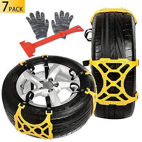 Oziral Auto SchneeKetten 7 Stück Auto Reifen Schnee Ketten für den Winter Universal Ketten für Notfälle, Starke Ketten für die Meisten Autos, SUV Lkws (Gelb 165-265mm/6.5