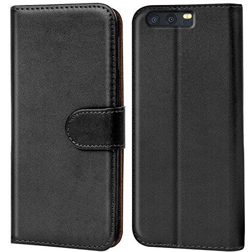 CoolGadget Handyhülle für Huawei P10 Hülle, Book Hülle Premium PU Leder Flip Cover Schutzhülle für Huawei P10 Tasche, Schwarz