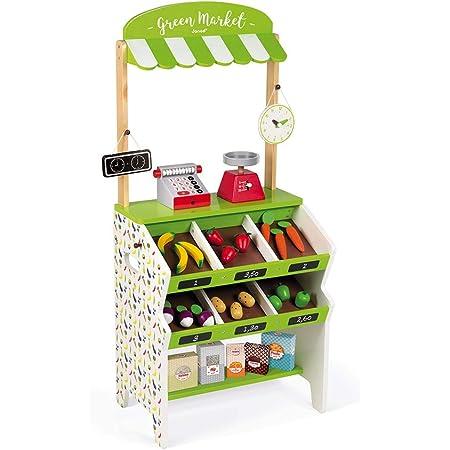 """Janod J06574 """"Green Market"""" Holz-Lebensmittelladen für Kinder, 32-teiliges Zubehör, Einkaufs-Fantasiespielzeug, für Kinder ab 3 Jahren, grün und weiß"""