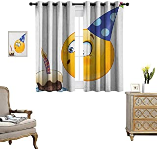 Warm Family Kids Birthday Thermal Insulating Blackout Curtain Happy Emoji Face Celebration with Cone Hat Blowing Party Cake Print Patterned Drape for Glass Door W55 x L45 Yellow and Dark Blue