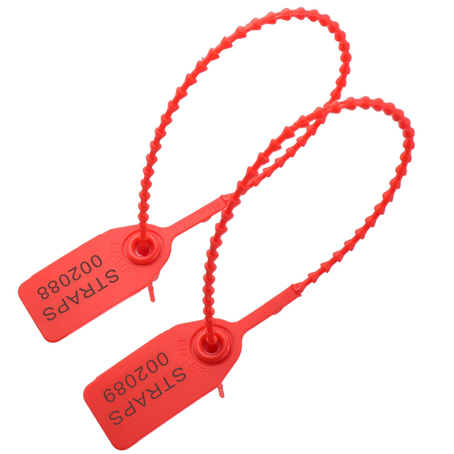 Plastic Tamper Seals,Disposable Self-Locking Safety Tag for Logistics Luggage Transport Fire Extinguishers 100 PCS Red