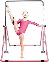 Gymbarpro Gymnastics Training Bar for Kids Expandable Adjustable Height Folding Horizontal Bar for Home