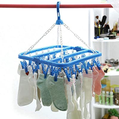 Lukzer Plastic 36 Clips Laundry Clothesline Hanging Rack for Clothing Wind-Proof Hook for Drying Hanger Baby Cloth Stand Towels & Bras (Random Colour)