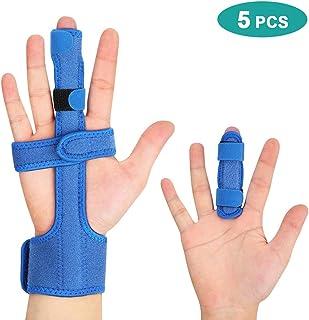 Férula de extensión de dedo gatillo para dedo medio roto con soporte de muñeca, barra de aluminio ajustable para aliviar el dolor de fracturas, inmovilización de nudillos, recuperación de cirugía