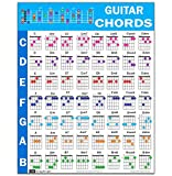 Guitar Chord Poster (24'x30'), Educational Reference Guide for Beginners, 56 Color Coded Chords, printed on non-tearing vinyl paper, Made in USA