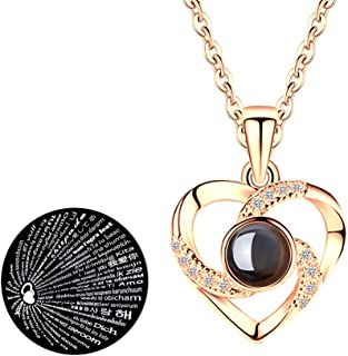 Hantaostyle I Love You Necklace, 925 Silver 100 Languages Projection on Round Onyx Pendant Loving Memory Collarbone Necklace