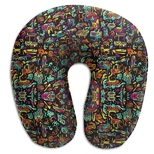 Almohada de espuma viscoelástica para el cuello, divertida almohada de viaje ligera para conducir