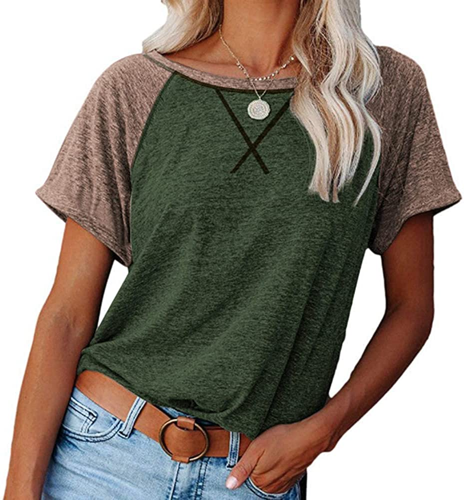 TINSTREE Womens Short Sleeve Crewneck T Shirts Color Block Workout Tees Casual Loose Fit Tunic