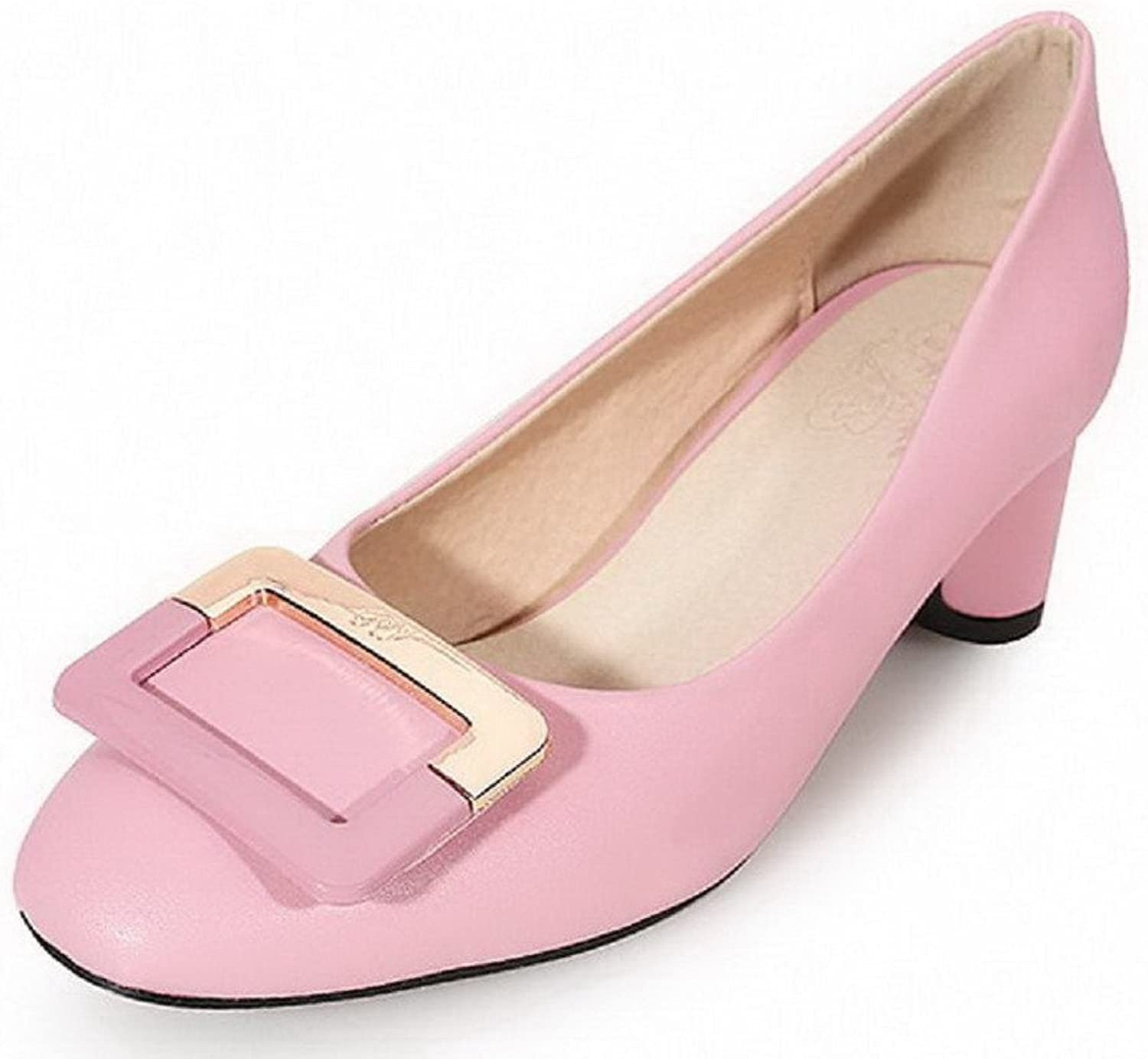 WeenFashion Women's Kitten Heels Solid Pull On Square Closed Toe Pumps-shoes