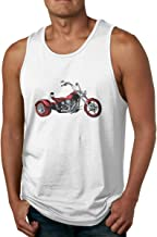 Vintage Motorcycles Men's Cotton Loose Fit Tank Tops Athletic Workout Sleeveless Shirts for Male