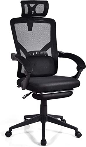 Giantex Ergonomic Office Chair, High Back Mesh Office Chair with Footrest, Computer Desk Chair with Removable Lumbar Pillow, Adjustable Headrest and Height Seat, Black (Black)
