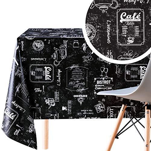 KP Home Manteles Hule Rectangular Estilo Impresión de Tiza Negro de PVC Fácil de Limpiar - 200 x 140 cm - Mantel de Plástico Fácilmente Limpiable con Diseño de Cafetería Coffee