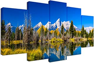 Visual Art Decor 5 Pieces Autumn Grand Teton National Park Picture Canvas Wall Art Snake River Oxbow Bend Wyoming Scenery Framed Prints Artwork for Living Room