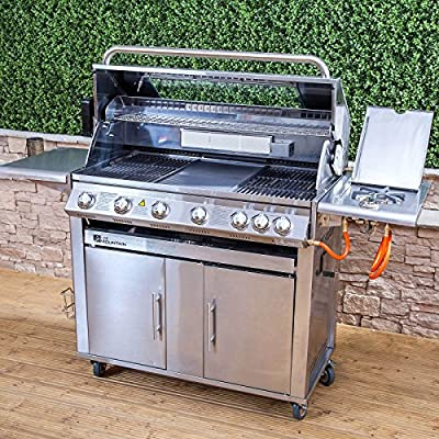 Fire Mountain Premier 6 Burner Gas Barbecue - 169cm W x 126cm H, High Grade Stainless Steel, Side Burner, Cast Iron Grill & Hot Plate, Rotisserie, Temperature Gauge, Side Shelves, Free Propane Regulator & Hose from Fire Mountain