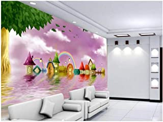 Yxjj1 Wallpaper Mural Living Room Sofa TV Background Fairy Tale Water Castle 3D Picture Wallpaper for Walls 3D- 400cm(W) x 250cm(H) (13'1