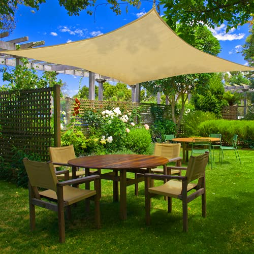 Broteen Sun Shade Sail, 7'x13' Rectangle Shade Canopy, UV Block Canopy for Patio Backyard Lawn Garden Outdoor Activities Cream