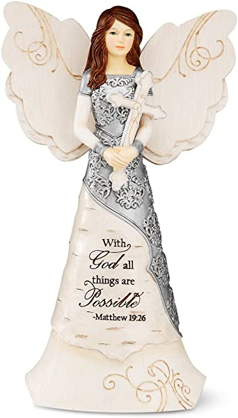 Elements Faith Angel Figurine By Pavilion 6 1 2 Inch Holding Cross Inscription With God All Things Are Possible