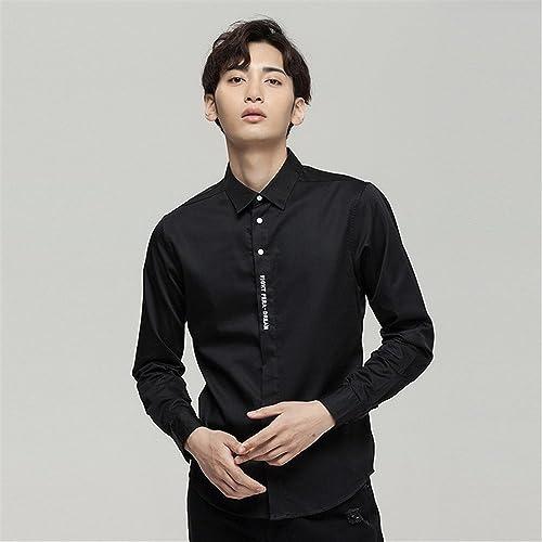 Mode Hommes Chemise de Couleur Pure, réparation des Manches Longues Simple t - Shirt brodé de Chemise,noir,XL