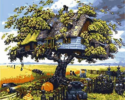 NA/ Malen nach Zahlen -Fantasy-Baumhaus- DIY Leinwand Ölgemälde Set Erwachsenen Kinderbedarf dekorative Leinwand Ölgemälde Dekoration Geschenk 40 * 50cm (kein Rahmen)